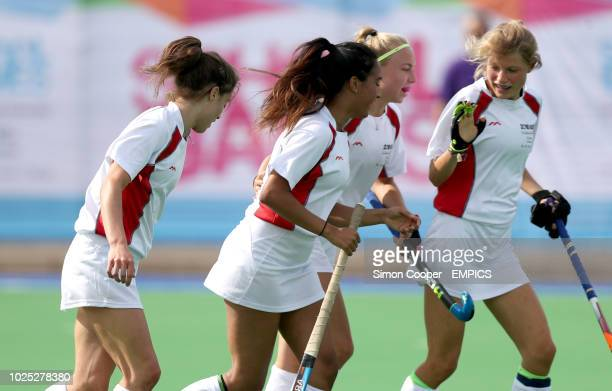 England White's Rachel DraytonChana celebrates scoring her first goal in the Hockey during the 2018 School Games held at Loughborough University 2018...