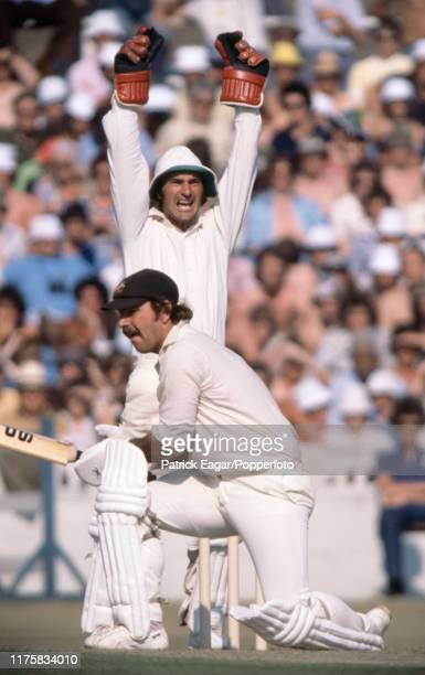 England wicketkeeper Alan Knott appeals unseccessfully for the wicket of Rodney Marsh of Australia during the 2nd Test match between England and...