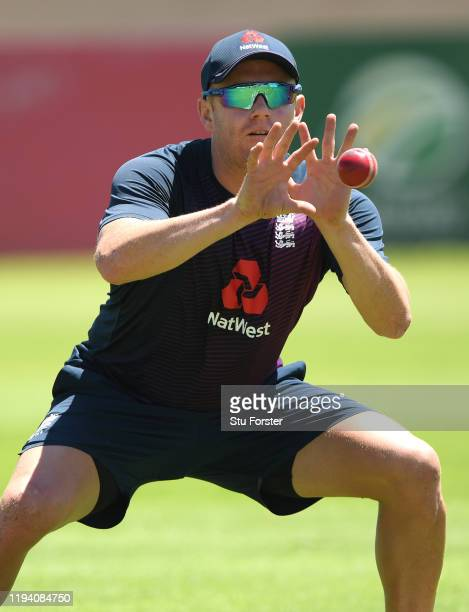 England wicketkeeper batsman Jonathan Bairstow in catching action during the tour's opening practice session at Willowmore Park during the England...