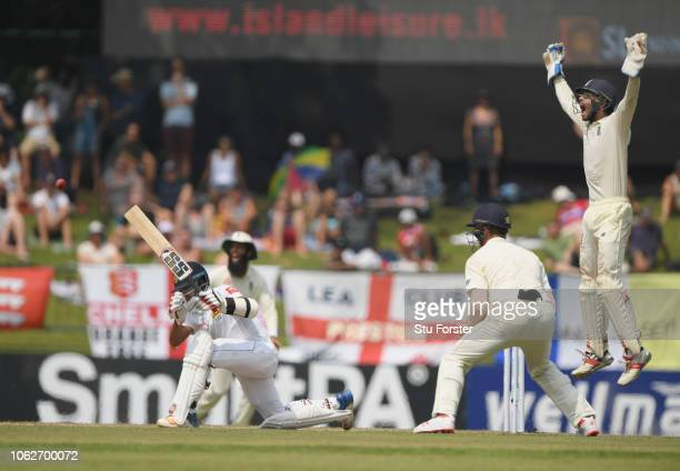 England wicketkeeper Ben Foakes appeals succesfully after review for the wicket of Sri Lanka batsman Kusal Mendis off the bowling of Jack Leach...