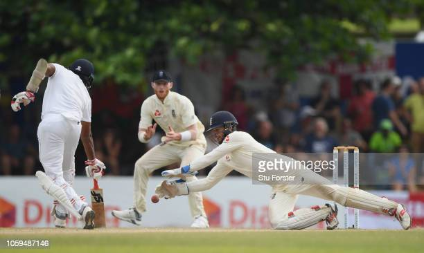 England wicketkeeper Ben Foakes in action during Day Four of the First Test match between Sri Lanka and England at Galle International Stadium on...