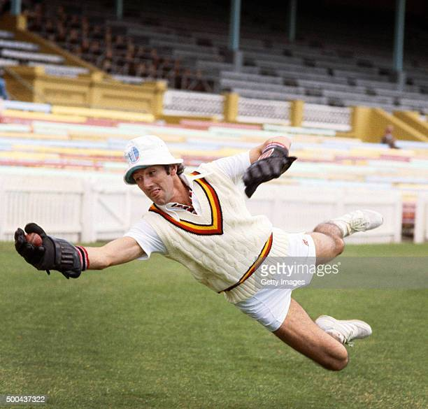 England wicketkeeper Bob Taylor wearing his trademark hat in action during nets during the 1982/83 Ashes tour to Australia