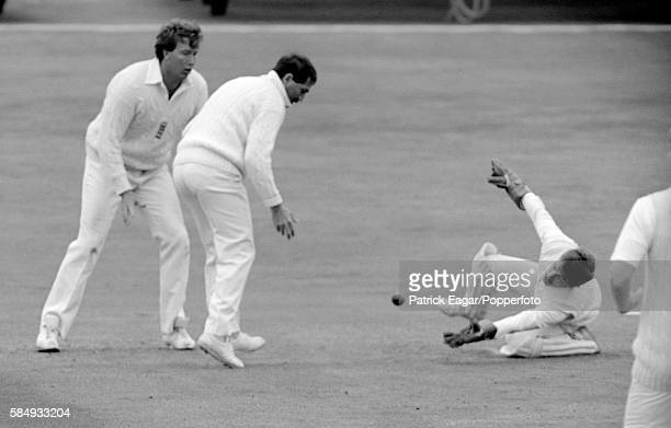 England wicketkeeper Bruce French deflects an edge from Maninder Singh of India to be caught by Graham Gooch of England to close India's first...