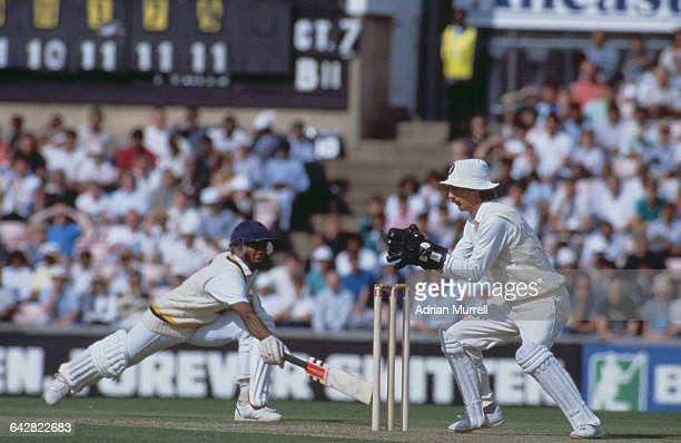 England wicketkeeper Jack Russell attempts to run out Hashan Tillakaratne of Sri Lanka during a one day international at The Oval London 4th...