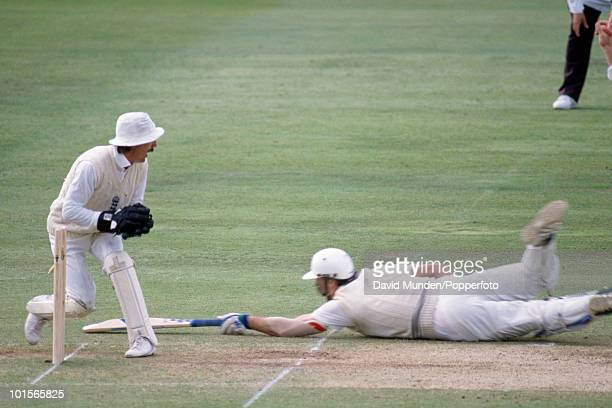 England wicketkeeper Jack Russell runs out New Zealand batsman John Bracewell on the fourth day of the 2nd Test match between England and New Zealand...