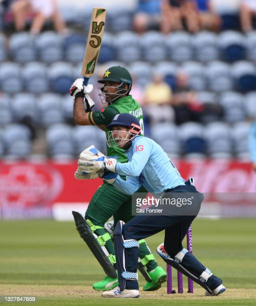 England wicketkeeper John Simpson reacts after Pakistan batsman Fakhar Zaman is caught out off the bowling of Matt Parkinson during the 1st Royal...