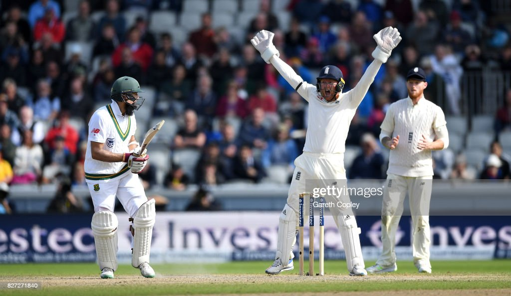 England wicketkeeper Jonathan Bairstow successfully appeals for the wicket of Hashim Amla of South Africa during day four of the 4th Investec Test match between England and South Africa at Old Trafford on August 7, 2017 in Manchester, England.
