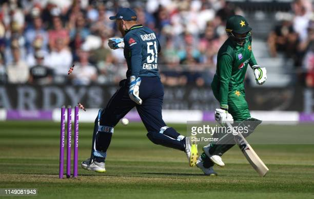 England wicketkeeper Jonny Bairstow attempts to run out Pakistan batsman Asif Ali with a nifty bit of footwork during the 3rd Royal London ODI match...