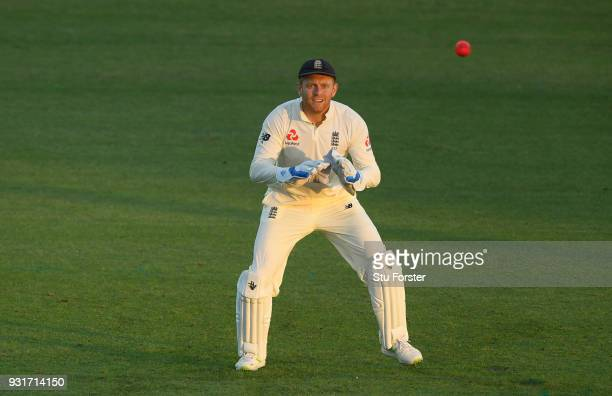 England wicketkeeper Jonny Bairstow in action during day one of the Test warm up match between England and New Zealand Cricket XI at Seddon Park on...