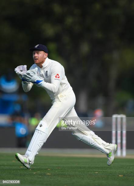 England wicketkeeper Jonny Bairstow in action during day two of the Second Test Match between the New Zealand Black Caps and England at Hagley Oval...