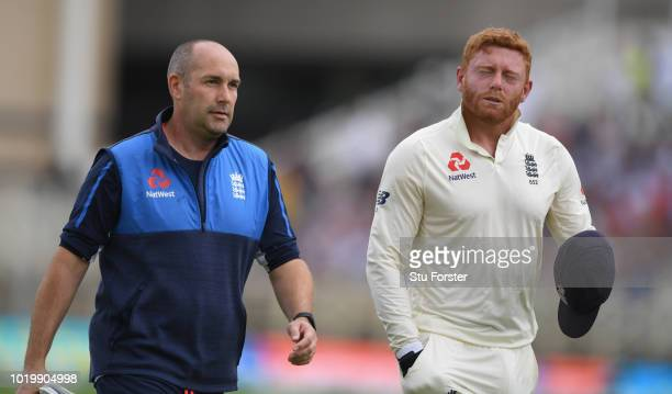 England wicketkeeper Jonny Bairstow leaves the field with an injury to his hand during day four of the 3rd Test Match between England and India at...