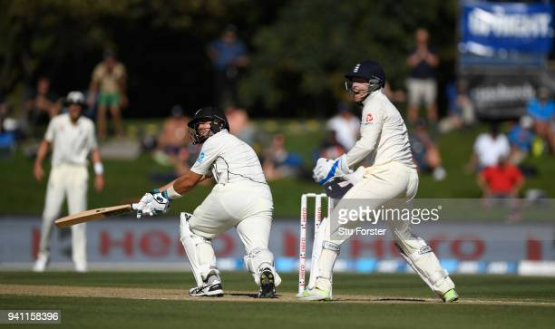 England wicketkeeper Jonny Bairstow reacts as Ross Taylor sweeps only to be caught by Alastair Cook off the bowling of Jack Leach during day five of...