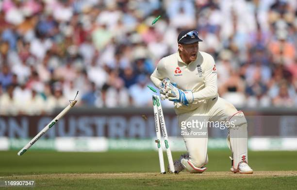 England wicketkeeper Jonny Bairstow runs out Aaustralia batsman Marnus Labuschagne during day three of the 3rd Ashes Test Match between England and...