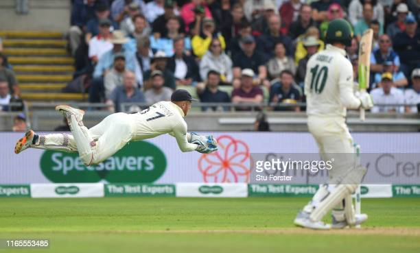 England wicketkeeper Jonny Bairstow takes a ball down the leg side during day one of the First Specsavers Ashes Test Match between England and...