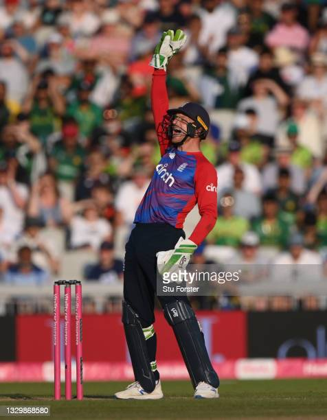 England wicketkeeper Jos Buttler appeals during the 3rd Vitality T20 match between England and Pakistan at Emirates Old Trafford on July 20, 2021 in...