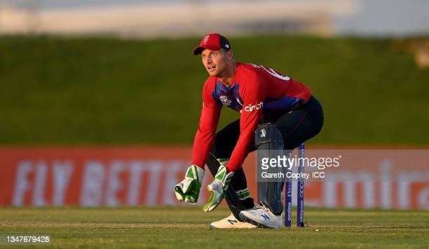 England wicketkeeper Jos Buttler during the England and New Zealand warm Up Match prior to the ICC Men's T20 World Cup at on October 20, 2021 in Abu...