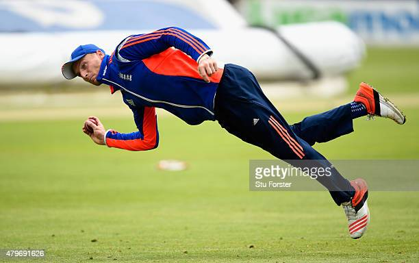 England wicketkeeper Jos Buttler in action during England nets ahead of the 1st Investec Ashes Test match between England and Australia at SWALEC...