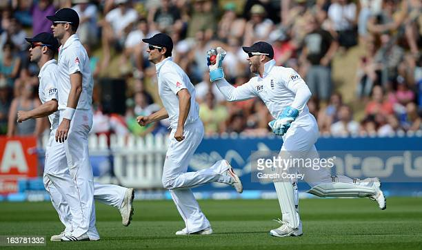 England wicketkeeper Matt Prior celebrates alongside James Anderson Jonathan Trott and Alastair Cook after catching out Neil Wagner of New Zealand...