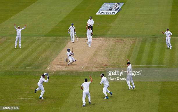 England wicketkeeper Matt Prior takes a catch to dismiss Kaushal Silva of Sri Lanka off the bowling of James Anderson during day three of the 1st...