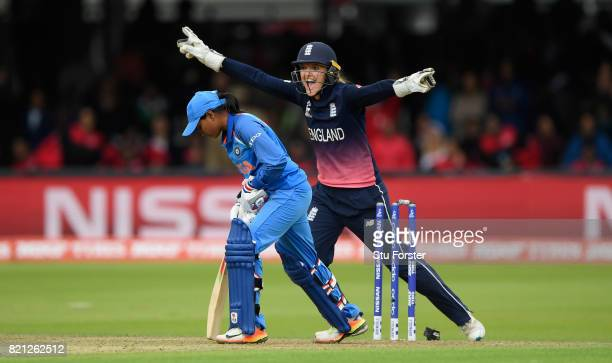 England wicketkeeper Sarah Taylor ceebrates the final India wicket of Shivanand Rajeshwari during the ICC Women's World Cup 2017 Final between...