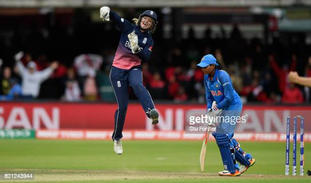 England wicketkeeper Sarah Taylor ceebrates the final India wicket during the ICC Women's World Cup 2017 Final between England and India at Lord's...