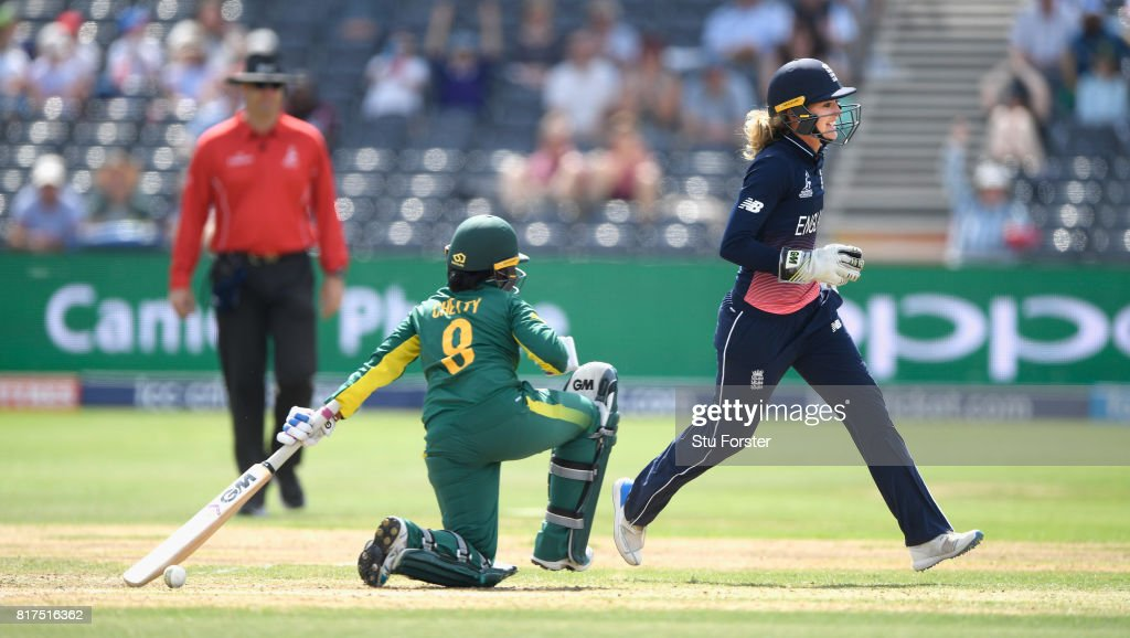 England wicketkeeper Sarah Taylor celebrates after stumping South Africa batsman Trisha Chetty hits out during the ICC Women's World Cup 2017 Semi-Final at The County Ground on July 18, 2017 in Bristol, England.