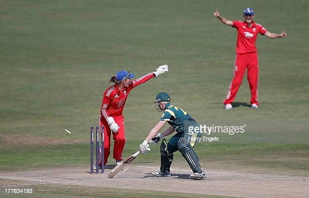 England wicketkeeper Sarah Taylor stumps Australian batswoman Jess Taylor during the third NatWest One Day International match between England and...