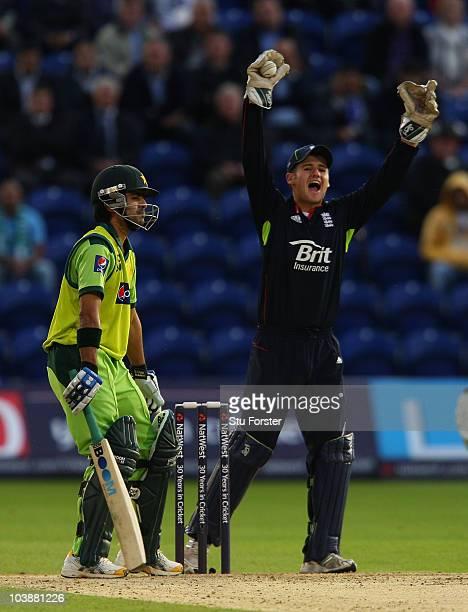 England wicketkeeper Steven Davies celebrates after catching Pakistan batsman Fawad Alam during the 2nd Natwest T20 International match between...