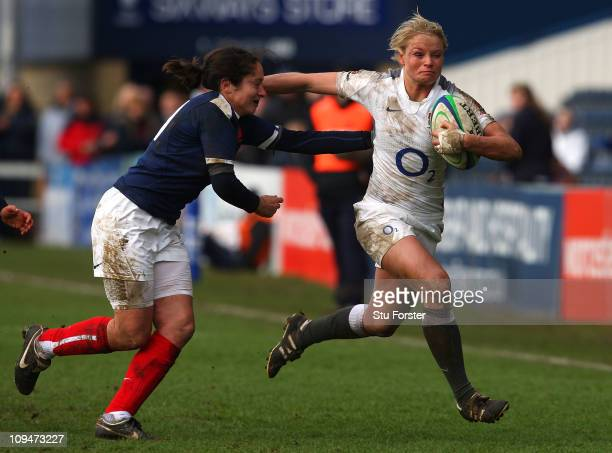 England winger Francesca Matthews races down the wing during the Womens Six Nations game between England and France at Sixways Stadium on February...