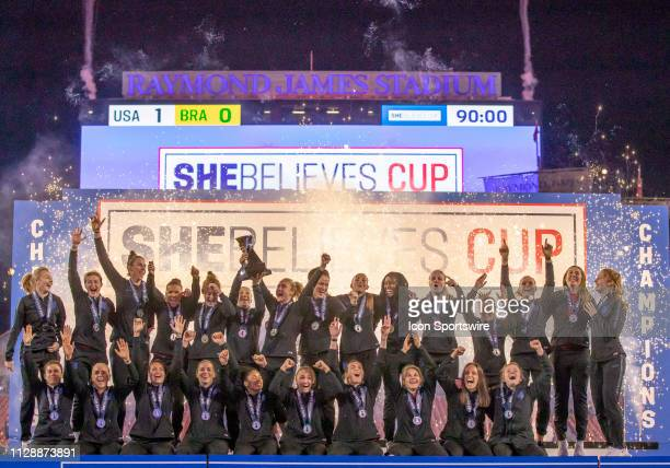 England wins the She Believes Cup Trophy at the She Believes Cup match between the Japan and England on March 5 2019 at Raymond James Stadium in...