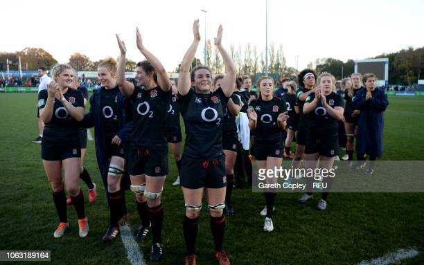 England women celebrate winning the Quilter International match between England Women and Canada Women at Castle Park on November 18 2018 in...