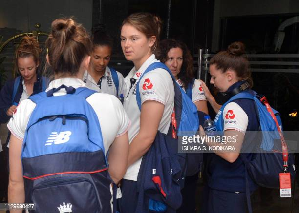 England Women cricketer Amy Jones and teammates arrive in Colombo on March 10 2019 The England Womens Cricket team will be touring Sri Lanka from...