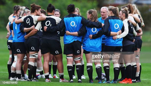 England Women Head Coach Simon Middleton talks to his players during an England Women's Training session at Loughborough University on October 5 2018...