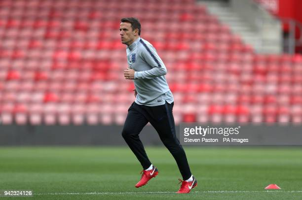 England Women manager Phil Neville during the training session at St Mary's Stadium Southampton