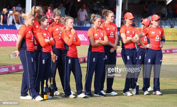 England Women players during International Twenty20 Final match between England Women and New Zealand Women at The Cloudfm County Ground Chelmsford...
