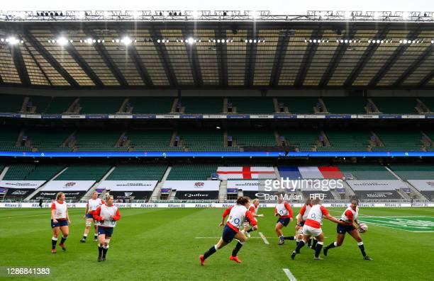 England Women players warm up prior to the Autumn International match between England Women and France Women at Twickenham Stadium on November 21,...