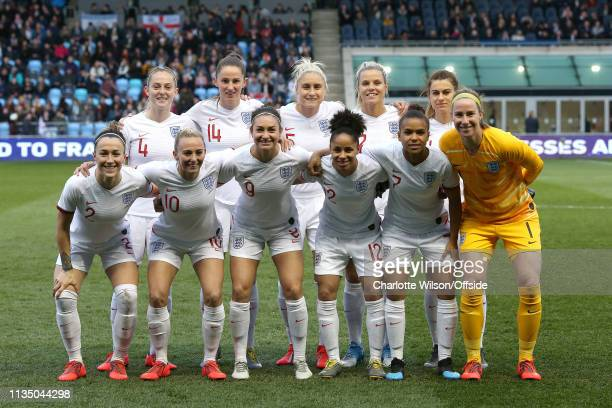 England Women pose for a team group photo during the International Friendly between England Women and Canada Women at The Academy Stadium on April 5...