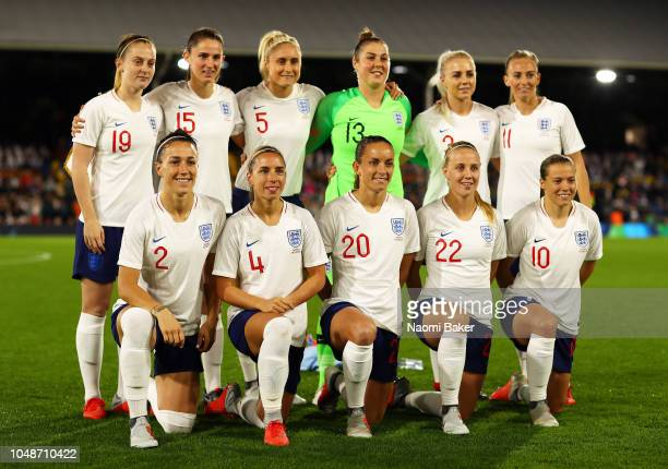 England Women pose for a team photograph ahead of the International Friendly match between England Women and Australia at Craven Cottage on October 9...