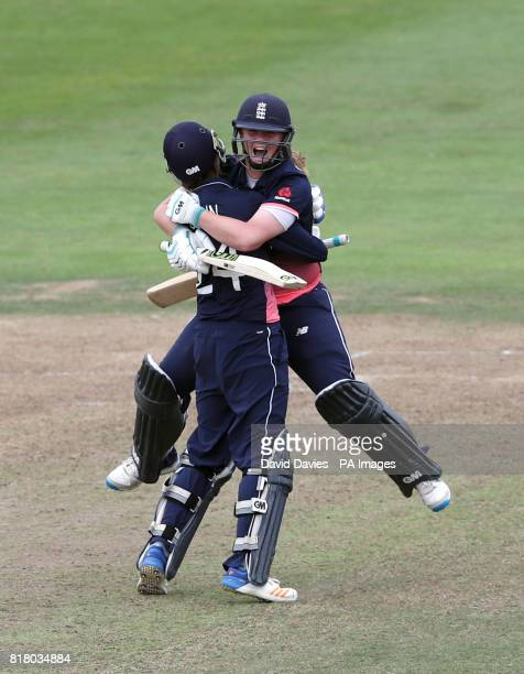 England Women's Anya Shrubsole celebrates hitting the winning runs with Jenny Gunn against South Africa Women during the ICC Women's World Cup Semi...