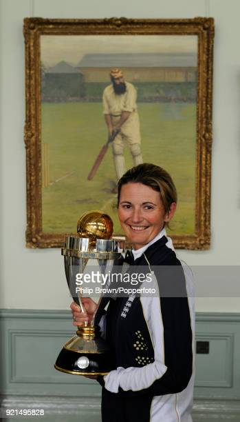 England Women's captain Charlotte Edwards with the ICC Women's World Cup trophy at Lord's Cricket Ground London 24th March 2009 England defeated New...