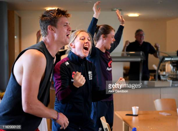England Women's captain Heather Knight and Amy Jones of England celebrate England winning the Final of the ICC Cricket World Cup against New Zealand...