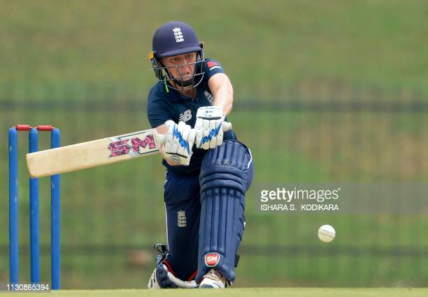 England Women's captain Heather Knight plays a shot during the first one day international cricket match between Sri Lanka and England at the...