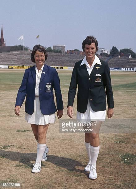 England Women's captain Rachael HeyhoeFlint and the Australia Women's captain Anne Gordon before the 2nd Test match between England Women and...