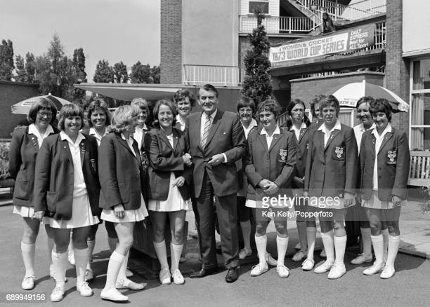 England Women's captain Rachael HeyhoeFlint and the England Women's cricket team are welcomed by Warwickshire chairman Cyril Goodway before their...
