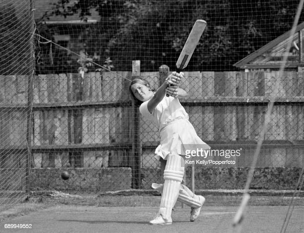 England Women's captain Rachael HeyhoeFlint batting in the nets before the Women's World Cup match between England and Australia at Edgbaston...