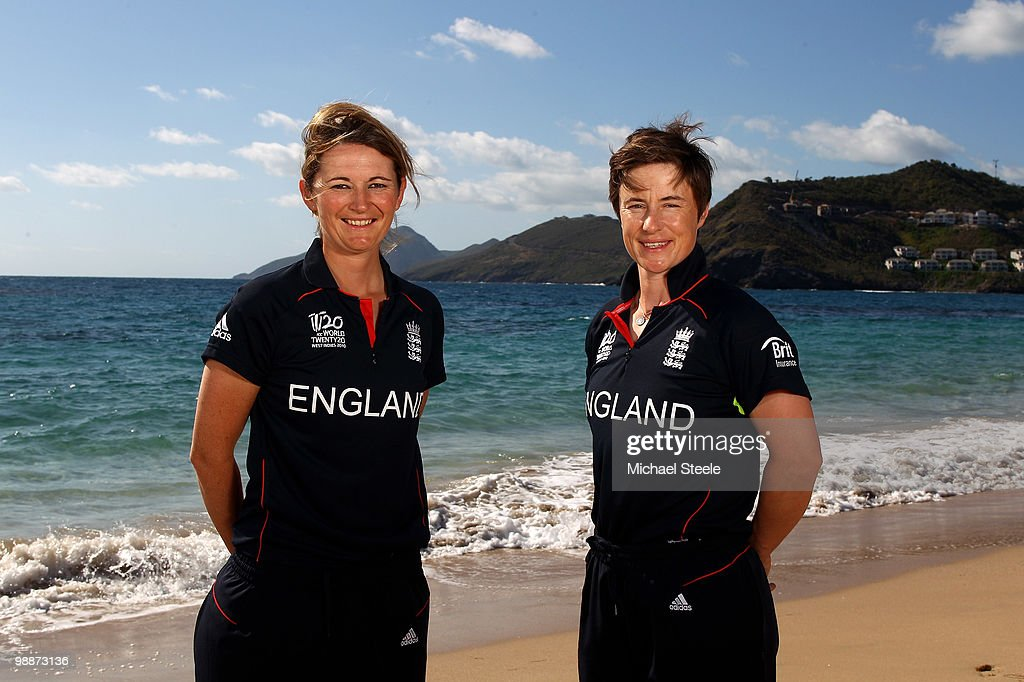 England womens cricket captain Charlotte Edwards (L) and Claire Taylor (R) pose on May 5, 2010 in St Kitts, Saint Kitts And Nevis.