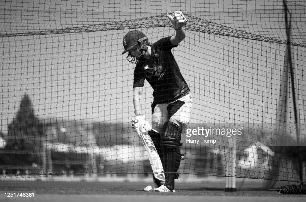 England Women's Cricket Captain Heather Knight collects the ball from the net after she plays a shot as she takes part in an individual training...