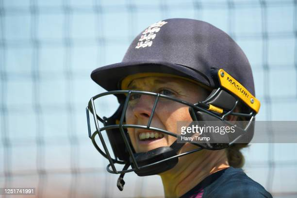 England Women's Cricket Captain Heather Knight looks on as she takes part in an individual training session at the County Ground on June 24 2020 in...