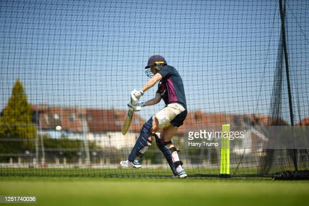 England Women's Cricket Captain Heather Knight plays a shot as she takes part in an individual training session at the County Ground on June 24 2020...