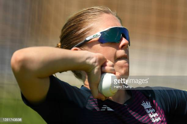 England Women's Cricket Captain Heather Knight prepares to bowls as she takes part in an individual training session at the County Ground on June 24...